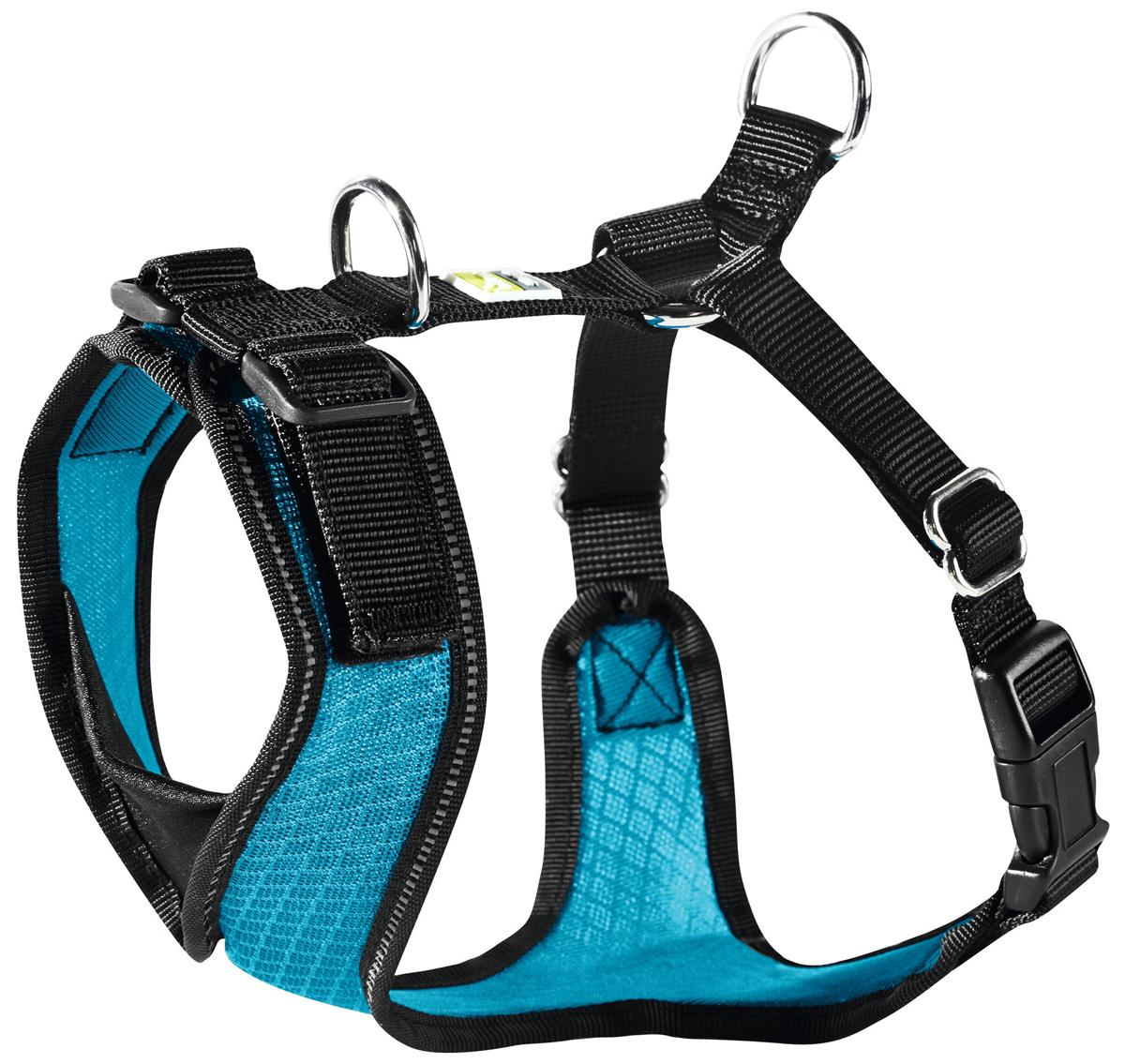 Шлейка для собак Hunter Manoa S нейлон сетчатый текстиль голубая 38 - 47 см (1 шт) rod халат парикмахерский черный с желтой каймой 5 размеров s 1 шт
