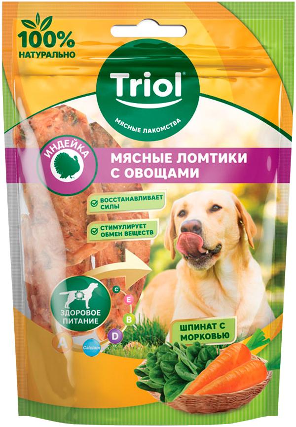 Лакомство Triol для собак ломтики мясные с индейкой, морковью и шпинатом 70 гр (1 шт)
