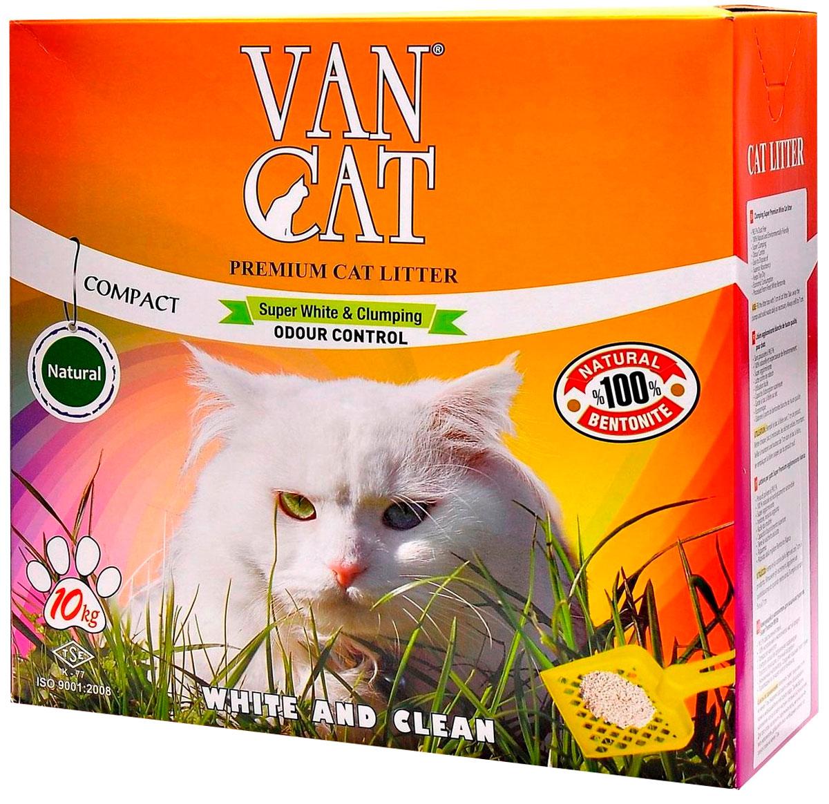 Фото - Van Cat Natural наполнитель комкующийся для туалета кошек 100 % Натуральный коробка (10 кг) комкующийся наполнитель