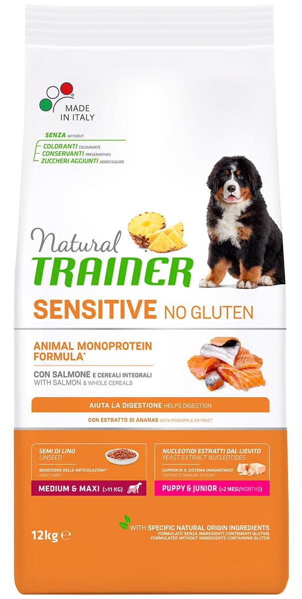Trainer Natural Sensitive No Gluten Medium & Maxi Puppy & Junior Salmon безглютеновый для щенков средних и крупных пород с лососем (12 кг) фото
