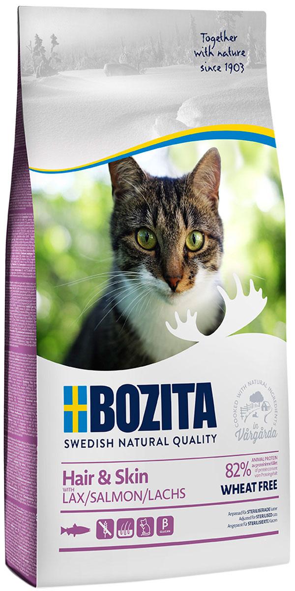 Bozita Hair & Skin Wheat Free Salmon для взрослых кошек с чувствительной кожей и шерстью лососем (2 + 2 кг)