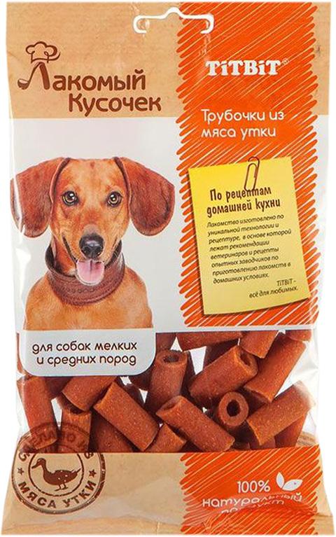 Лакомство Tit Bit лакомый кусочек для собак маленьких и средних пород трубочки из мяса утки (80 гр)