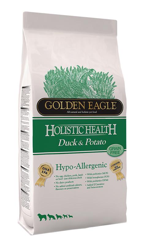 Golden Eagle Holistic Health Dog Adult Hypoallergenic Duck & Potato беззерновой для взрослых собак при аллергии с уткой и картофелем (2 кг)
