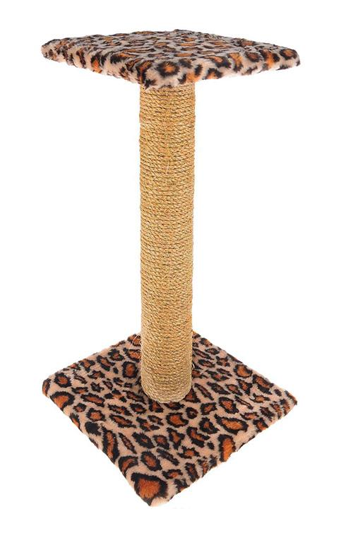 Когтеточка Зонтик 65 см Пушок джут мех бежевый леопард (1 шт)