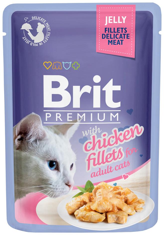 Фото - Brit Premium Cat Jelly Chicken Fillets для взрослых кошек кусочки филе курицы в желе (85 гр х 24 шт) brit набор паучей brit premium family plate jelly для взрослых кошек в желе 85 г х 12 шт курица говядина форель и лосось