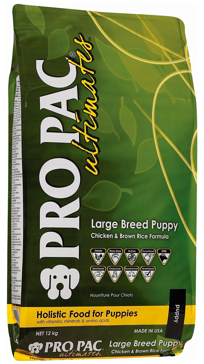 Pro Pac Ultimates Puppy Large Breed Chicken Meal & Brown Rice для щенков крупных пород с курицей и рисом (12 + 12 кг)