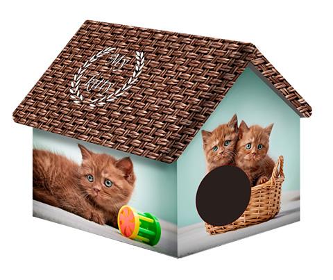 Дом для животных PerseiLine Дизайн Котята и мешковина 33 х 33 х 40 см (1 шт) дом для животных perseiline дизайн бамбук 33 х 33 х 40 см 1 шт