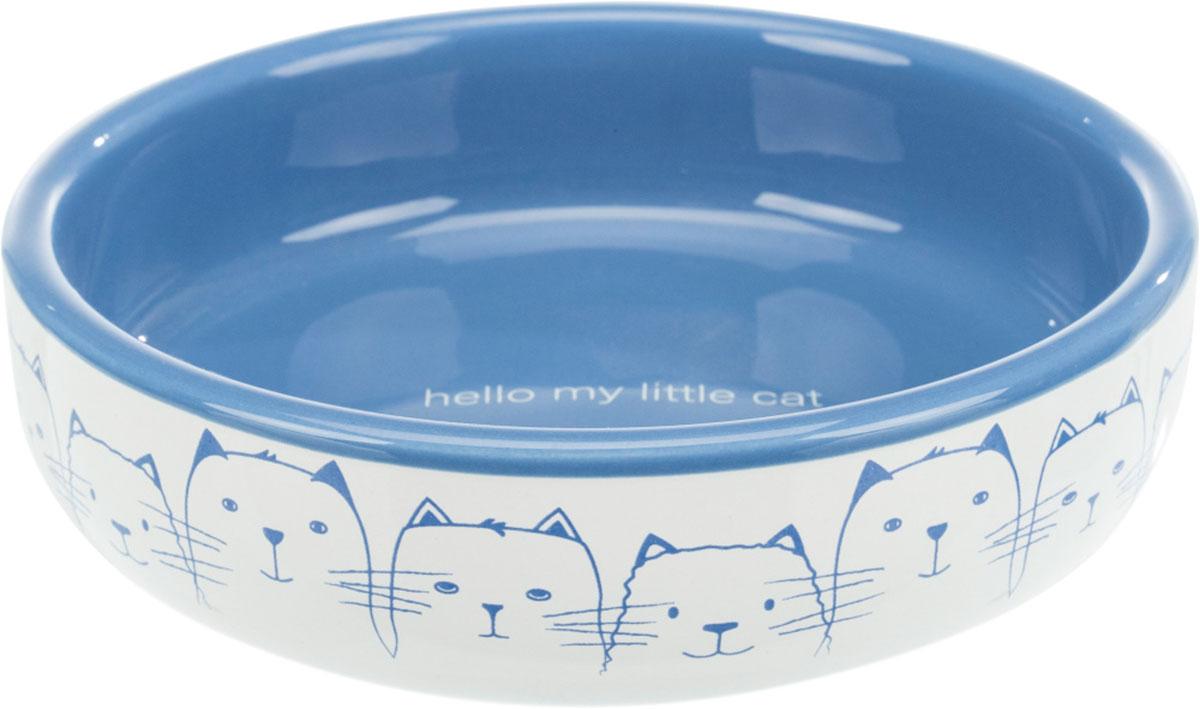 Trixie керамическая миска Hello My Little Cat плоская голубая/белая 0,3 л (1 шт)