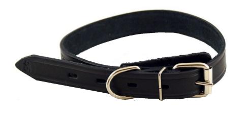 Ошейник для собак кожаный одинарный простой, черный, шир. 15 мм, ZooMaster (35 см)