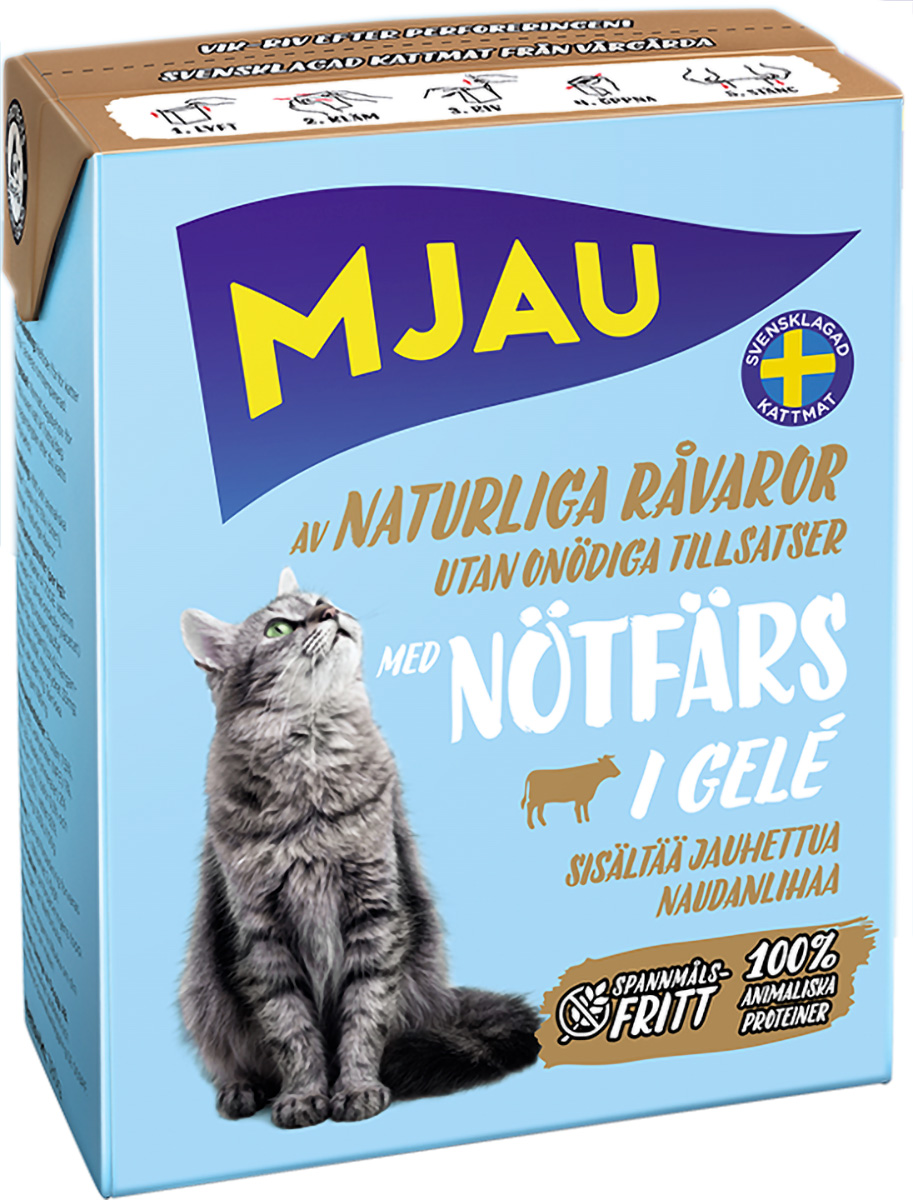 Mjau Chunks In Jelly Minced Beef для кошек и котят с рубленой говядиной в желе (380 гр)