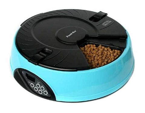 Автоматическая кормушка для кошек и собак на 6 кормлений с ЖК-дисплеем Feed-Ex голубая (1 шт).
