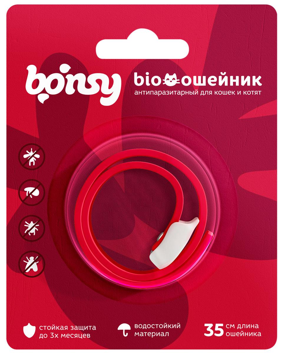Bonsy BIOошейник Вишневый для кошек и котят против клещей, блох, вшей, власоедов 35 см (1 шт)