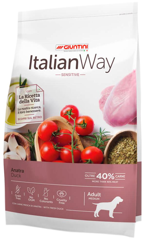 Italian Way Dog Adult Medium Sensitive беззерновой для взрослых собак средних пород с чувствительным пищеварением с уткой (12 + 12 кг)