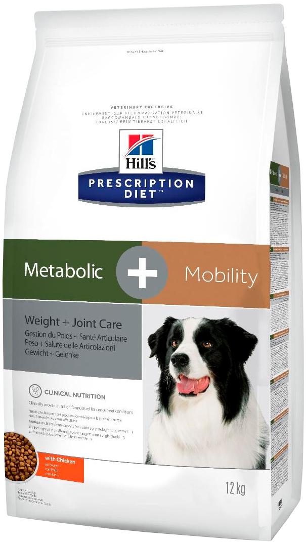 Hill's Prescription Diet Metabolic + Mobility для взрослых собак снижение избыточного веса и поддержание метаболизма в суставах (12 кг)