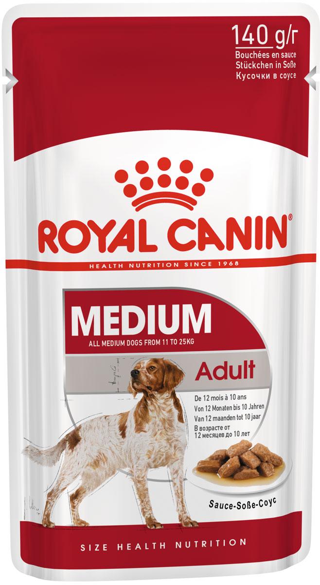 Royal Canin Medium Adult для взрослых собак средних пород в соусе 140 гр (8 + 2 шт)