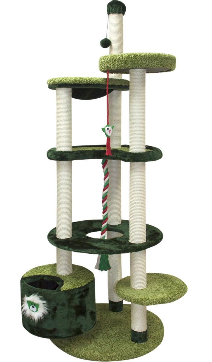 Комплекс игровой для кошек Зооник многоуровневый мех/ковролин зеленый 96 х 84 х 221 см (1 шт)