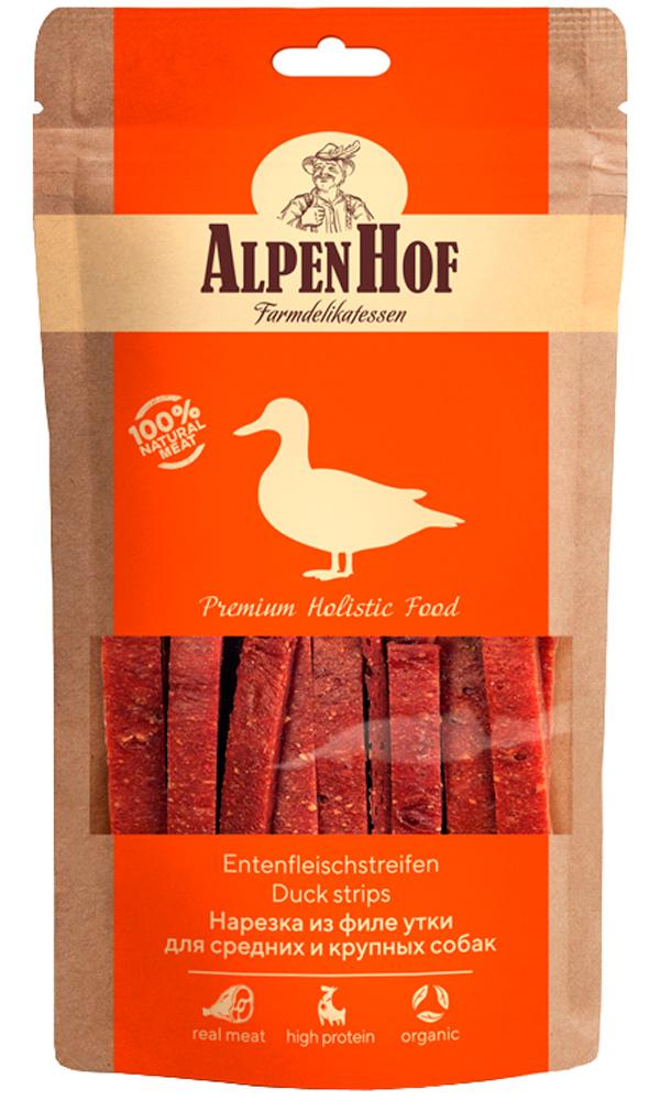 Лакомство AlpenHof для собак средних и крупных пород нарезка из филе утки 80 гр (1 уп)
