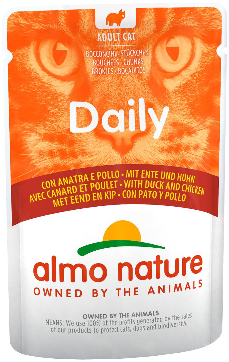 Almo Nature Cat Daily Menu для взрослых кошек с курицей и уткой 70 гр (70 гр х 30 шт)