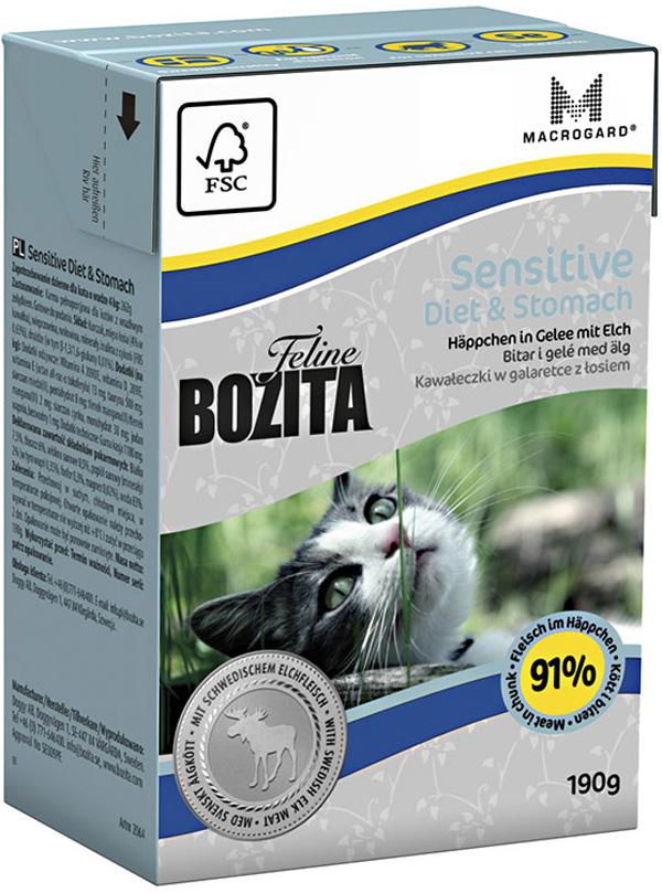 Bozita Feline Function Diet & Stomach для взрослых кошек с чувствительным пищеварением с лосем в желе (190 гр) фото