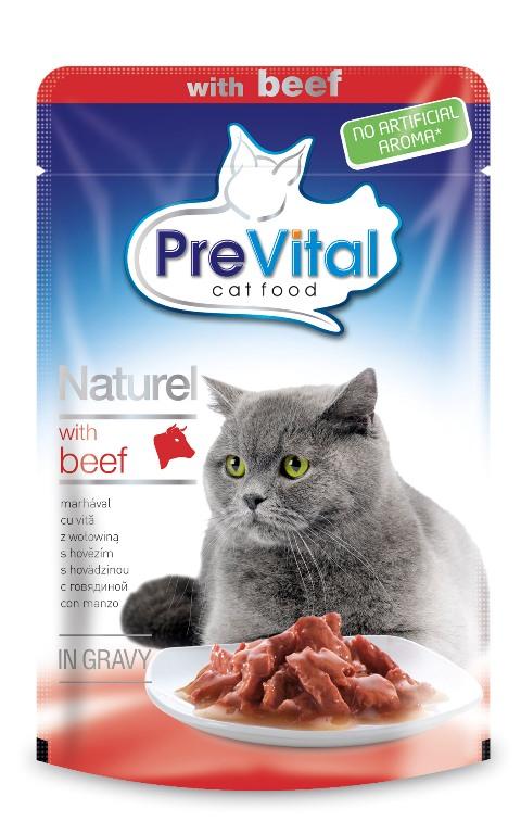 Prevital Naturel для взрослых кошек с говядиной в соусе 85 гр (85 гр х 28 шт) фото