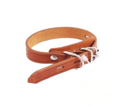 Ошейник для собак кожаный одинарный простой, рыжий, шир. 20 мм, ZooMaster (35 см)