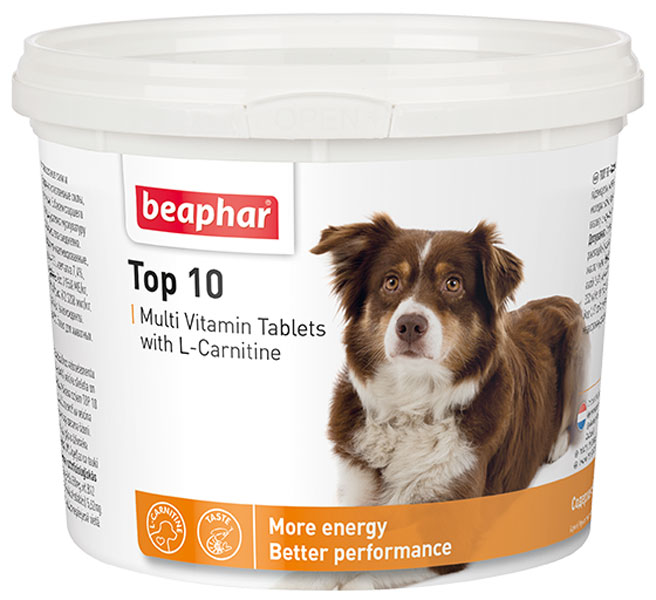 Beaphar Top 10 Multi Vitamin мультивитаминная добавка для собак с L-карнитином уп. 180 таблеток (1 уп) beaphar top 10 multi vitamin мультивитаминная добавка для кошек с биотином и таурином уп 180 таблеток 1 уп