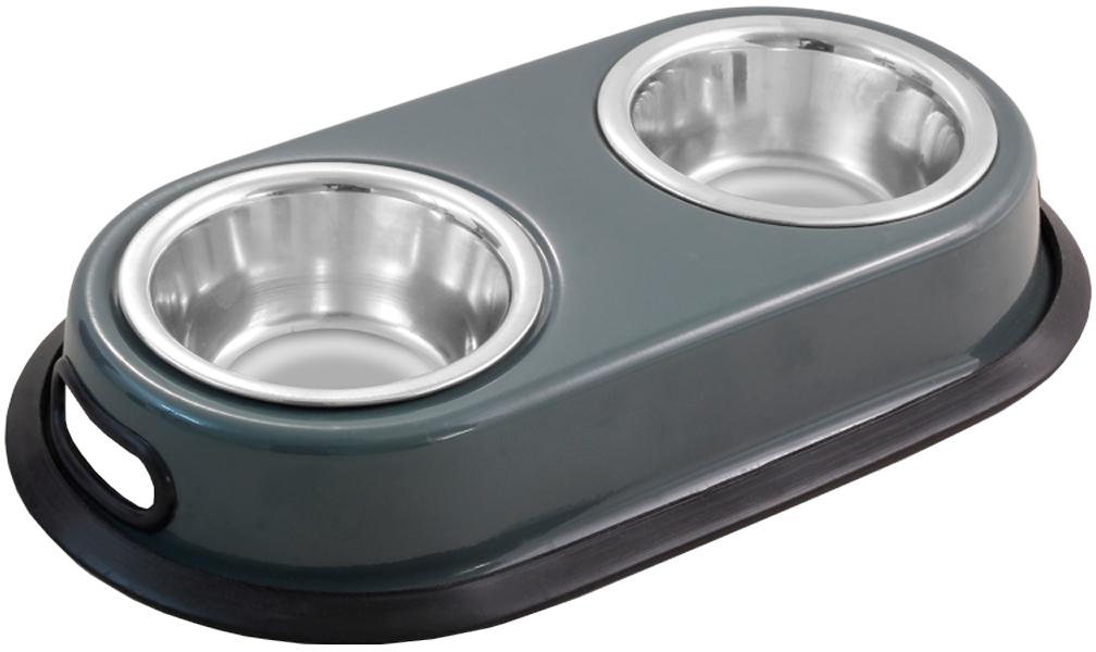 Triol подставка с мисками металлическая, двойная, на резинке (2 х 0,75 л)