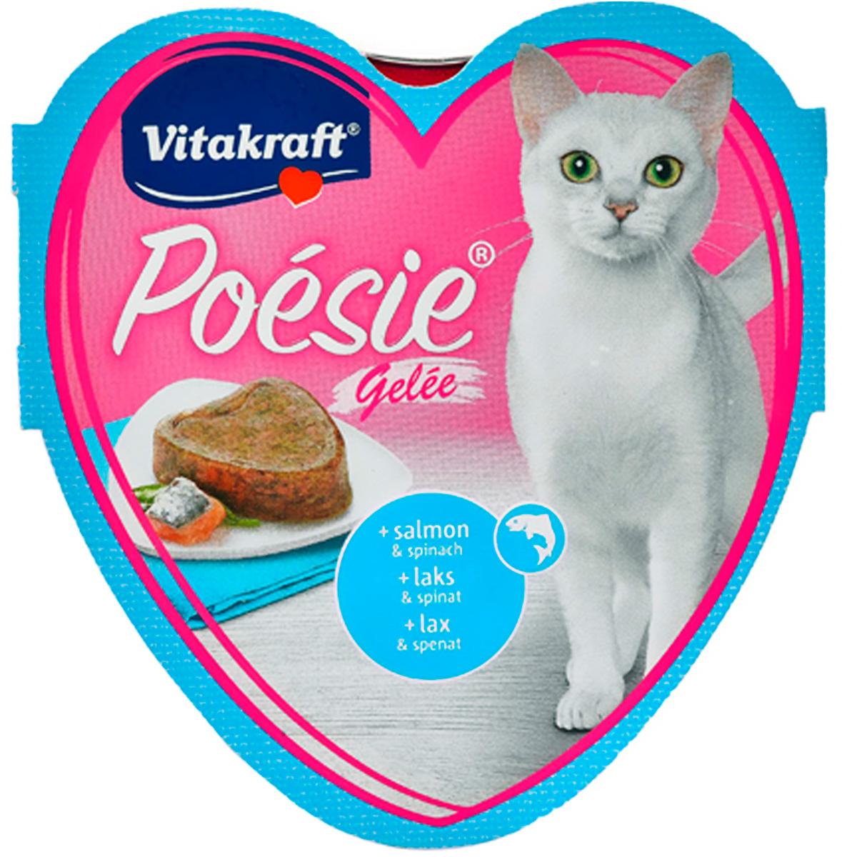Vitakraft Poesie для взрослых кошек с лососем и шпинатом в желе (85 гр х 15 шт).