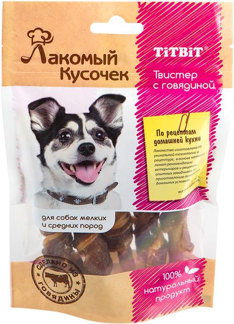 Лакомство Tit Bit лакомый кусочек для собак маленьких и средних пород твистер с говядиной (5 шт) (1 шт)