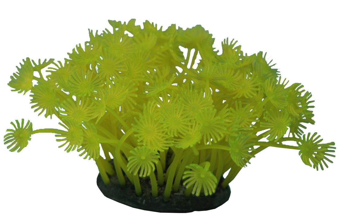 Декор для аквариума Коралл силиконовый Vitality желтый 7,5 х 7,5 х 10 см (1 шт)