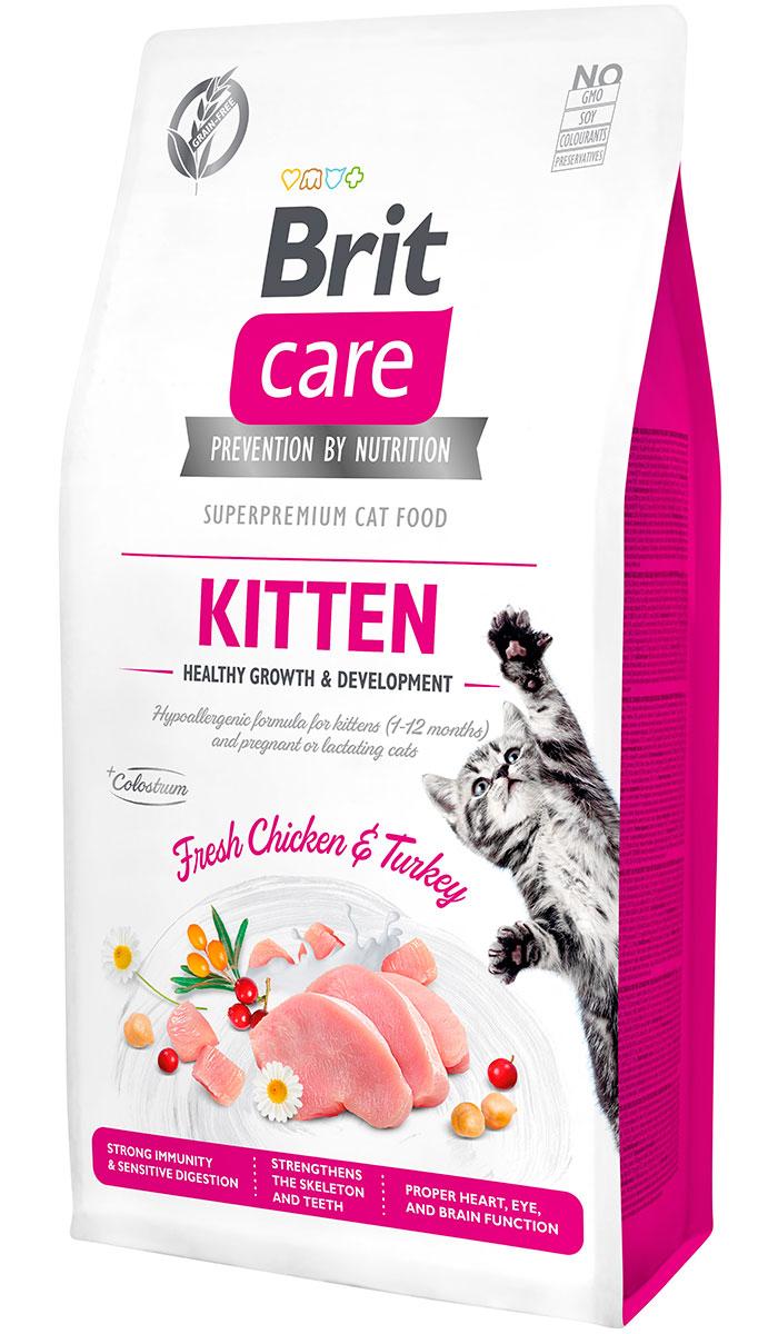 Brit Care Cat Grain-free Kitten Healthy Growth & Development беззерновой для котят, беременных и кормящих кошек с индейкой и курицей (2 + 2 кг)