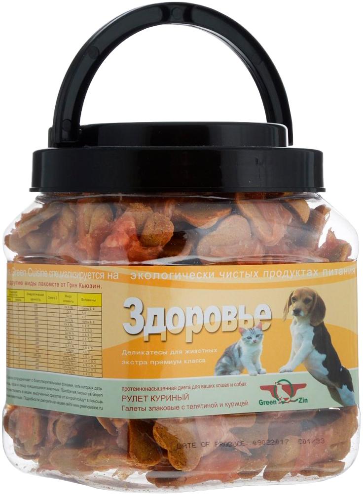 Лакомство Green Qzin Здоровье для собак всех пород и кошек галеты с телятиной и курицей 750 гр (1 шт)