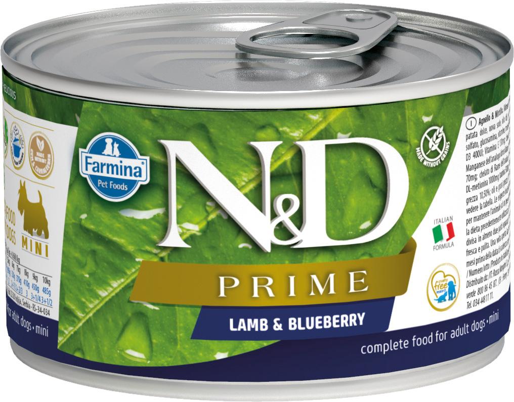 Farmina Dog N&d Prime Adult Mini Lamb & Blueberry беззерновые для взрослых собак маленьких пород с ягненком и черникой 140 гр (140 гр) фото