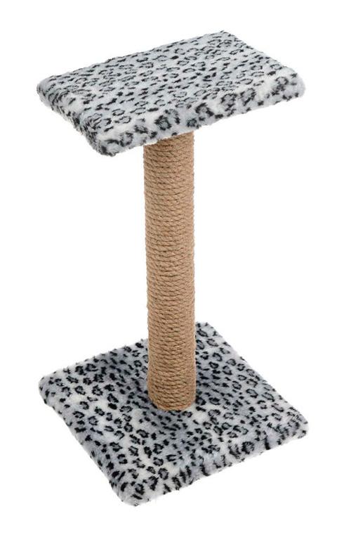 Когтеточка Зонтик 65 см Пушок джут мех серый леопард (1 шт)