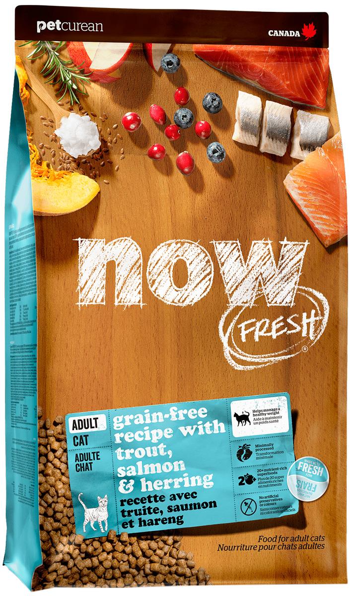 Now Fresh Cat Adult беззерновой для взрослых кошек с чувствительным пищеварением с форелью и лососем (7,26 кг)