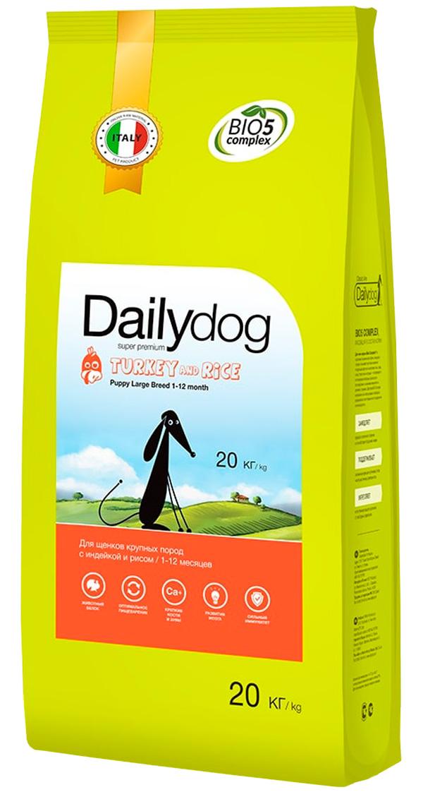 Dailydog Puppy Large Breed Turkey & Rice монобелковый для щенков крупных пород с индейкой и рисом (20 кг)