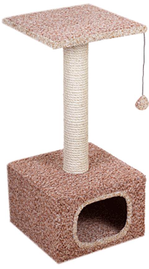Дом для кошек маленький Зооник бежевый велюр ковровый 34 х 34 х 75 см (1 шт)