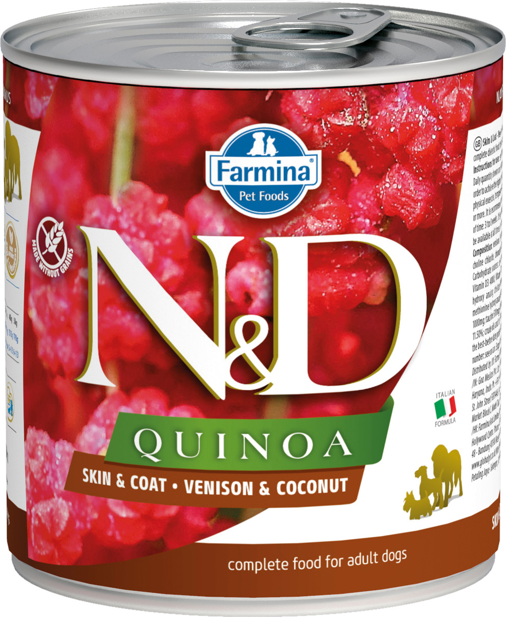 Farmina Dog N&d Quinoa Adult Venison & Coconut беззерновые для взрослых собак всех пород с олениной, кокосом и киноа 285 гр (285 гр х 6 шт)