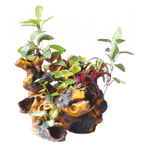 Декорация Коряга с растениями U-285 Kw для аквариума 32 х 25 х 24,5 см (1 шт)