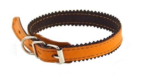Ошейник для собак кожаный с двойной строчкой, рыжий, шир. 15 мм, ZooMaster (35 см)