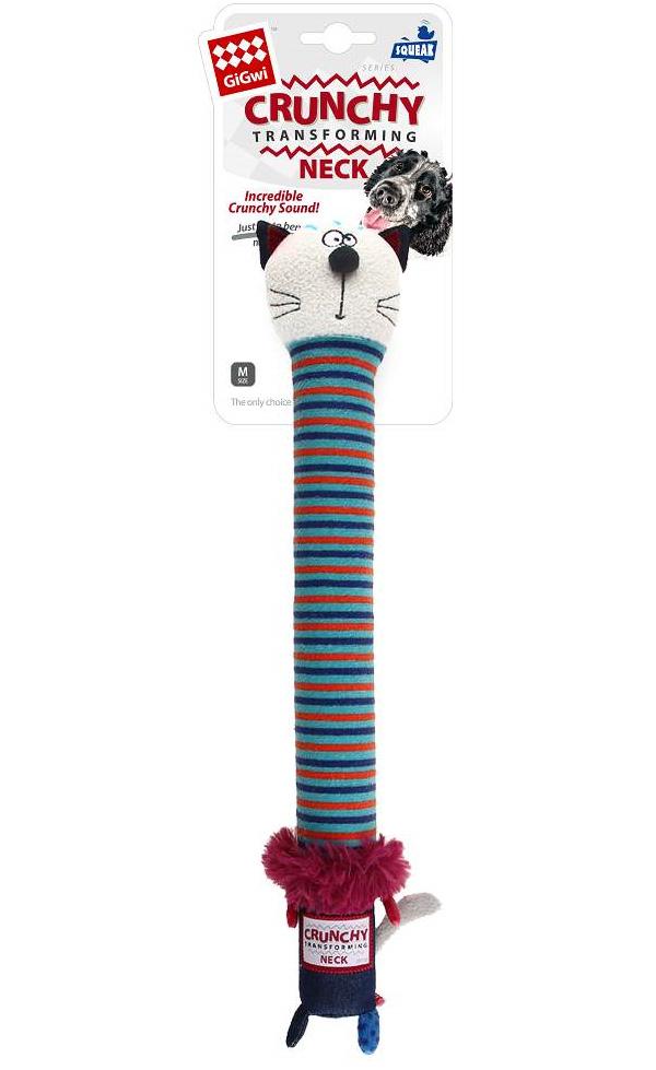 Игрушка для собак GiGwi Crunchy Neck Кот с пищалкой и хрустящей шеей размер S 28 см (1 шт)