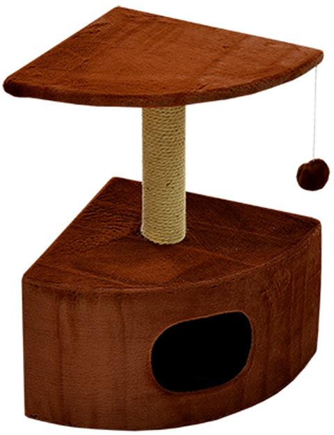 Дом для кошек круглый угловой Зооник коричневый мех 43 х 43 х 67 см (1 шт)