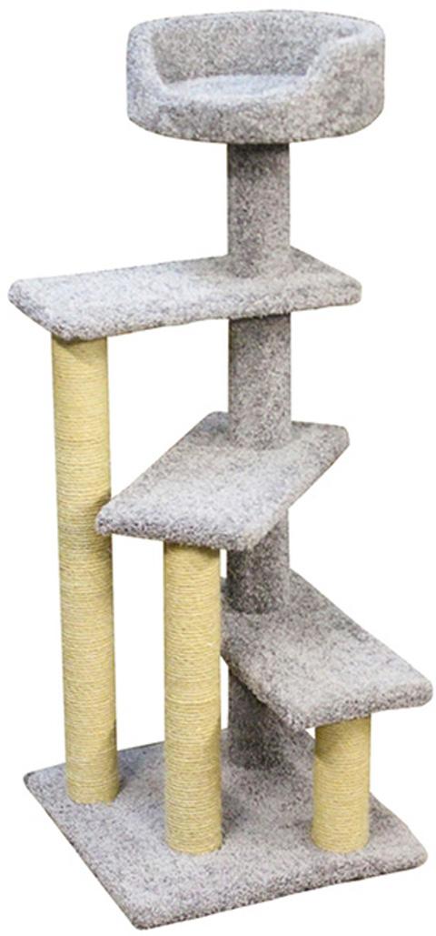 Когтеточка Винтовая лестница Пушок ковролин серая (1 шт)