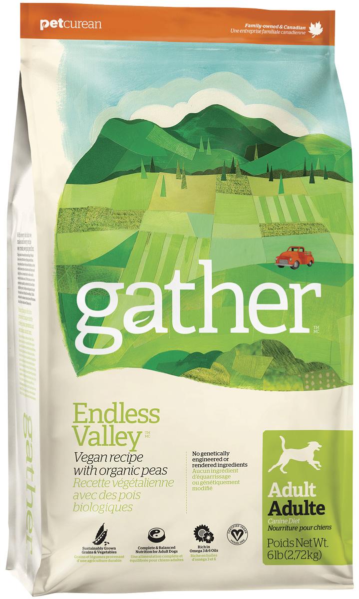 Gather Dog Endless Valley Vegan вегетарианский для взрослых собак всех пород (2,72 кг)