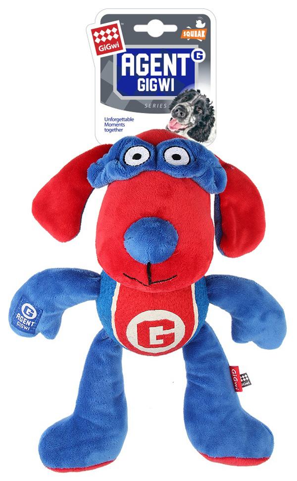 Игрушка для собак GiGwi Agent Собака с теннисным мячом и пищалкой 28 см (1 шт)