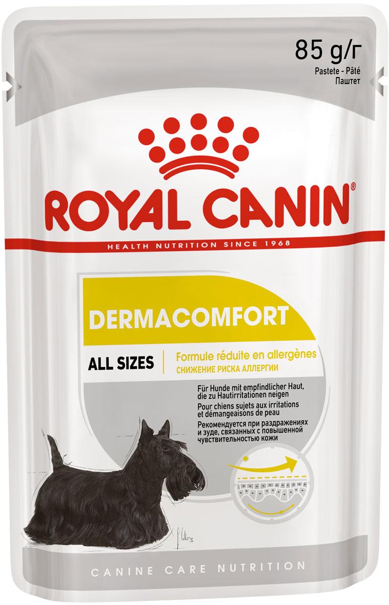 Royal Canin Dermacomfort для взрослых собак всех пород при аллергии паштет 85 гр (85 гр х 12 шт)
