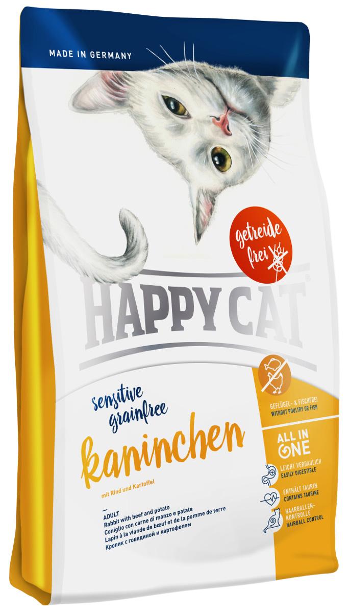 Happy Cat Sensitive Grainfree Adult Kaninchen беззерновой для взрослых кошек при аллергии с кроликом, говядиной и картофелем (4 кг)