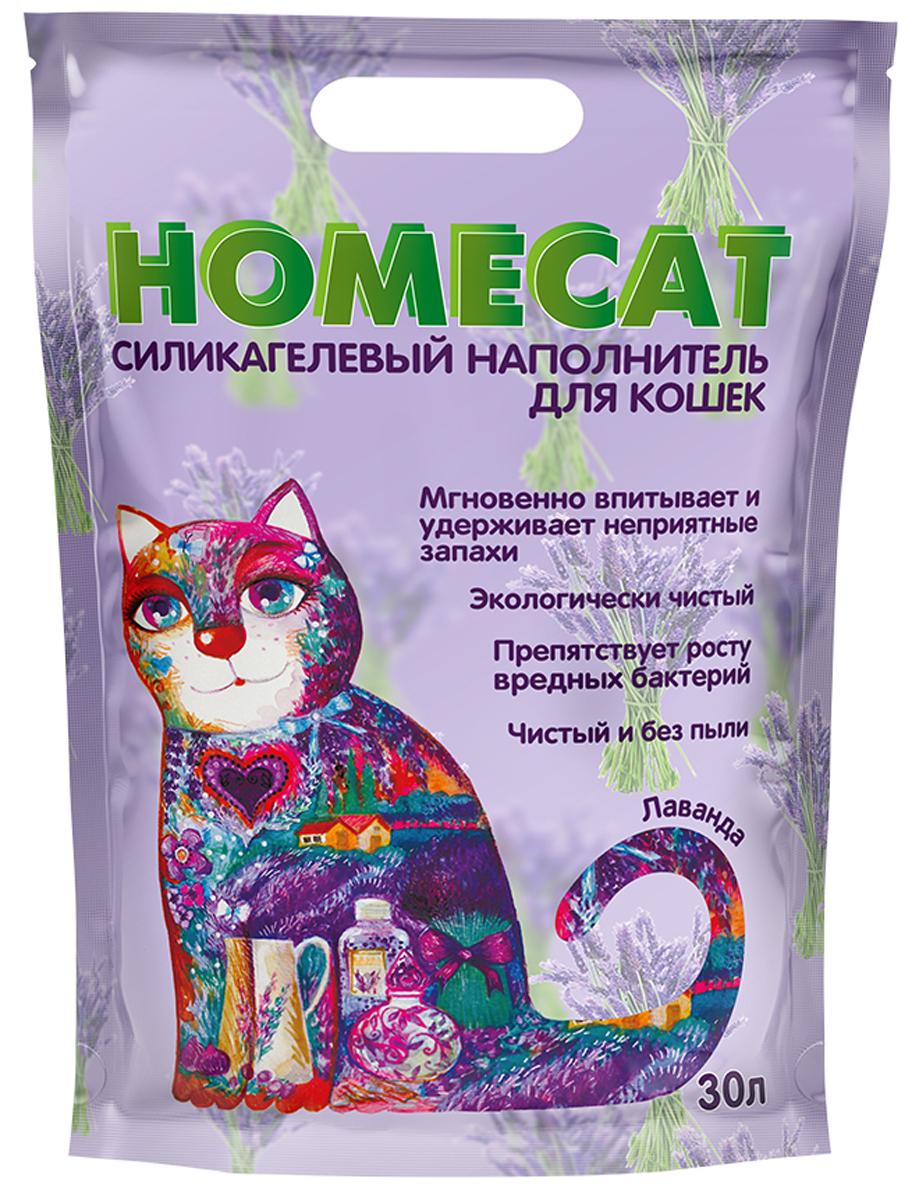 Homecat лаванда наполнитель силикагелевый для туалета кошек (30 л)