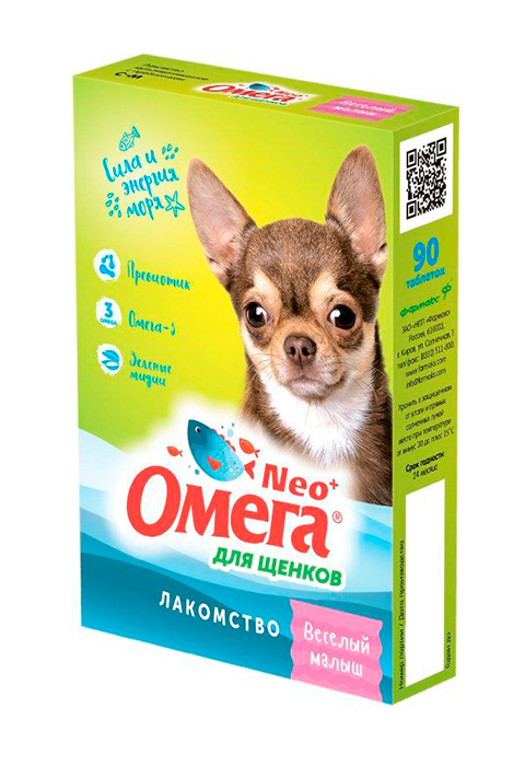 Лакомство омега Neo+ Веселый малыш для щенков с пребиотиком Астрафарм (60 шт)