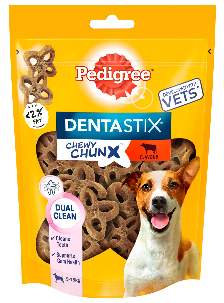 Лакомство Pedigree Denta Stix Chewy Chunx для собак маленьких пород для зубов жевательные кусочки с говядиной (68 гр)